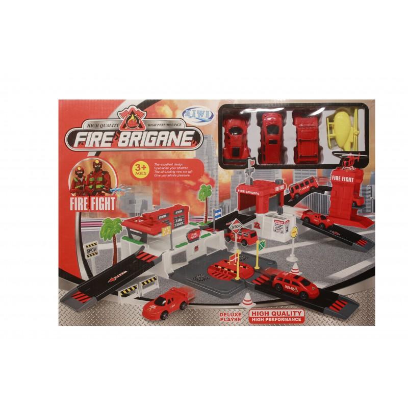 Parcare pompieri de jucarie